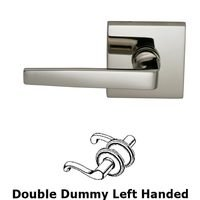 Omnia Industries - Door Levers - Double Dummy Chicago Left Handed Lever with Square Rosette in Polished Nickel Lacquered