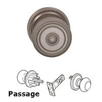 Omnia Industries - Door Knobs - Passage Latchset Classic Beaded Knob with Beaded Rosette in Satin Nickel Lacquered