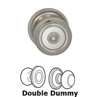 Omnia Industries - Door Knobs - Double Dummy Traditions Beaded Knob with Beaded Rosette in Polished Nickel Lacquered