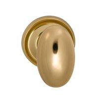 Omnia Industries - Door Knobs - Passage Traditions Classic Egg Door Knob with Medium Radial Rosette in Unlacquered Brass