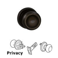 Omnia Industries - Door Knobs - Privacy Latchset Classic Rope Knob with Rope Rosette in Shaded Bronze