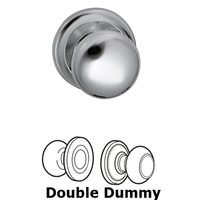 """Omnia Industries - Door Knobs - Double Dummy Set Classic 2 1/8"""" Half Round Knob with Radial Rosette in Polished Chrome"""