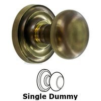 Omnia Industries - Door Knobs - Single Dummy Traditions Knob with Radial Rosette in Antique Bronze Unlacquered