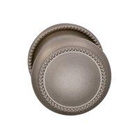 Omnia Industries - Door Knobs - Single Dummy Traditions Beaded Door Knob with Medium Beaded Rosette in Satin Nickel Lacquered