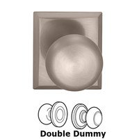 Omnia Industries - Prodigy - Double Dummy Colonial Knob with Rectangle Rose in Satin Nickel Lacquered