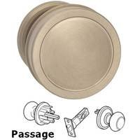 Omnia Industries - Arc Knobs - Passage Edged Knob and Small Edged Rose in Satin Nickel Lacquered