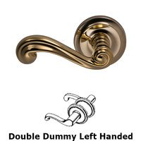 Omnia Industries - Door Levers - Double Dummy Traditions Left Handed Lever with Radial Rosette in Polished Brass Unlacquered