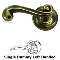 Omnia Industries - Door Levers - Single Dummy Traditions Left Handed Lever with Radial Rosette in Antique Bronze Unlacquered