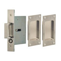 Omnia Industries - Pocket Door Hardware - Small Modern Rectangle Passage Pocket Door Mortise Hardware with Exposed Screws in Satin Stainless Steel