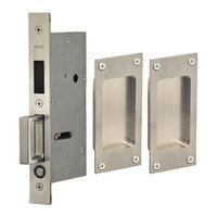 Omnia Industries - Pocket Door Hardware - Small Modern Rectangle Dummy Pair Pocket Door Mortise Hardware with Exposed Screws in Satin Stainless Steel