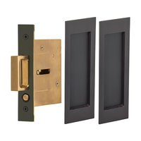 Omnia Industries - Pocket Door Hardware - Large Modern Rectangle Passage Pocket Door Mortise Hardware in Antique Brass Lacquered