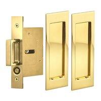 Omnia Industries - Pocket Door Hardware - Large Modern Rectangle Passage Pocket Door Mortise Hardware in Antique Brass Lacquered