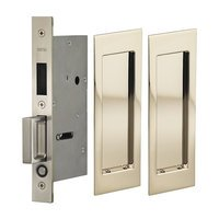 Omnia Industries - Pocket Door Hardware - Large Modern Rectangle Dummy Pair Pocket Door Mortise Hardware in Antique Brass Lacquered