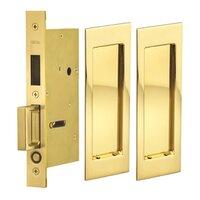 Omnia Industries - Pocket Door Hardware - Large Modern Rectangle Dummy Pair Pocket Door Mortise Hardware in Antique Brass Lacquered