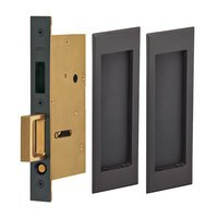 Omnia Industries - Pocket Door Hardware - Large Stepped Rectangle Dummy Pair Pocket Door Mortise Hardware in Satin Nickel Lacquered