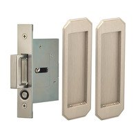 Omnia Industries - Pocket Door Hardware - Large Traditional Rectangle Passage Pocket Door Mortise Hardware in Antique Brass Lacquered