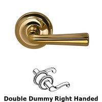 Omnia Industries - Door Levers - Double Dummy Traditions Right Handed Lever with Radial Rosette in Polished Brass Unlacquered