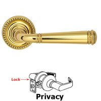 Omnia Industries - Arc Levers - Privacy Beaded Lever and Small Beaded Rose in Polished Brass Lacquered