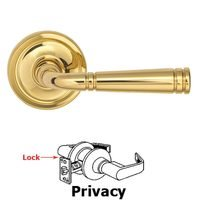 Omnia Industries - Arc Levers - Privacy Edged Lever Edged Rose in Polished Brass Unlacquered