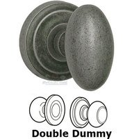 Omnia Industries - Door Knobs - Double Dummy Set Classic Egg Knob with Radial Rosette in Vintage Iron