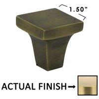 "Omnia Industries - Ultima II - 1"" Square Knob in Satin Brass Lacquered"