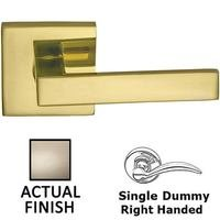 Omnia Industries - Square Prodigy - Right-Handed Single Dummy Square Lever with Rectangular Rose in Satin Nickel Lacquered Plated, Lacquered