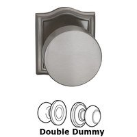Omnia Industries - Puck Prodigy - Double Dummy Puck Knob with Arched Rose in Satin Nickel Lacquered Plated, Lacquered