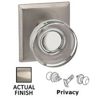Omnia Industries - Prodigy - Privacy Puck Glass Knob With Rectangular Rose in Polished Polished Nickel Lacquered