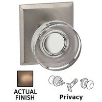 Omnia Industries - Prodigy - Privacy Puck Glass Knob With Rectangular Rose in Antique Brass Lacquered