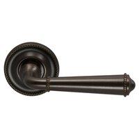 Omnia Industries - Door Levers - Single Dummy Traditions Beaded Lever with Medium Beaded Rosette in Antique Bronze