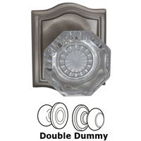 Omnia Industries - Prodigy - Double Dummy Glass Knob with Arch Rose in Satin Nickel Lacquered
