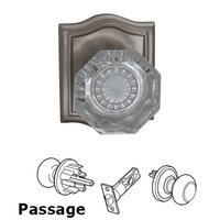 Omnia Industries - Prodigy - Passage Glass Knob with Arch Rose in Satin Nickel Lacquered