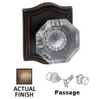 Omnia Industries - Prodigy - Passage Classic Glass Knob With Arched Rose in Antique Brass Lacquered