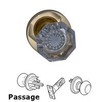 Omnia Industries - Prodigy - Passage Glass Knob with Modern Rose in Polished and Lacquered Brass