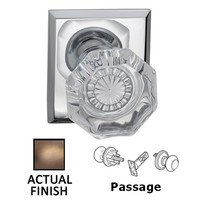 Omnia Industries - Prodigy - Passage Classic Glass Knob With Rectangular Rose in Antique Brass