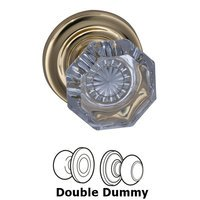 Omnia Industries - Prodigy - Double Dummy Glass Knob with Traditional Rose in Polished and Lacquered Brass