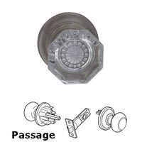 Omnia Industries - Prodigy - Passage Glass Knob with Traditional Rose in Satin Nickel
