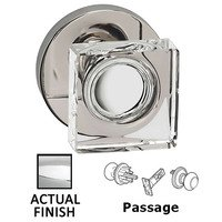 Omnia Industries - Prodigy - Passage Square Glass Knob With Modern Rose in Polished Chrome