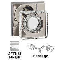 Omnia Industries - Prodigy - Passage Square Glass Knob With Square Rose in Polished Chrome