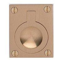 "Omnia Industries - Flush Pulls - 2 3/8"" (60mm) Rectangular Flush Ring Pull in Satin Brass"