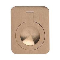 "Omnia Industries - Flush Pulls - 2"" (51mm) Rectangular Flush Ring Pull in Satin Brass"