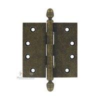 "Omnia Industries - Door Hinge with Finials - 4"" x 4"" Ball Bearing, Solid Brass Hinge with Acorn Finials in Vintage Brass"