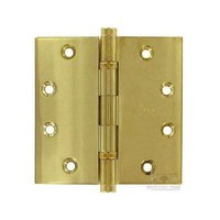"""Omnia Industries - Solid Brass Door Hinges - 4 1/2"""" x 4 1/2"""" Ball Bearing, Button Tip Solid Brass Hinge in Polished and Lacquered Brass"""