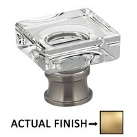 """Omnia Industries - Prodigy - 1 1/16"""" Square Glass Knob in Satin Brass Lacquered"""