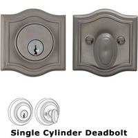 Omnia Industries - Prodigy Auxiliary Deadbolts - Arched Auxiliary Single Deadbolt in Satin Nickel Lacquered Plated, Lacquered