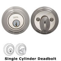 Omnia Industries - Prodigy Auxiliary Deadbolts - Colonial Single Cylinder Deadbolt in Polished Polished Nickel Lacquered
