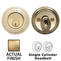 Omnia Industries - Prodigy Auxiliary Deadbolts - Colonial Single Cylinder Deadbolt in Satin Brass Lacquered