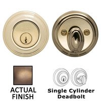 Omnia Industries - Prodigy Auxiliary Deadbolts - Colonial Single Cylinder Deadbolt in Antique Brass