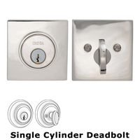 Omnia Industries - Prodigy Auxiliary Deadbolts - Square Single Cylinder Deadbolt in Polished Polished Nickel Lacquered