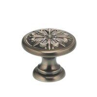 "Omnia Industries - Ornate Knobs & Pulls - 1 3/16"" Graphic Flower Knob Pewter"